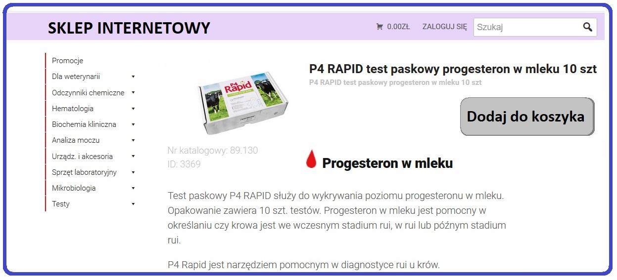 Oznaczanie Progesteronu W Mleku Test Paskowy P4 Rapid